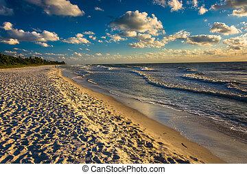 fény, nápoly, este, tengerpart, florida.