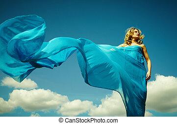 fény, nő, ruhaanyag