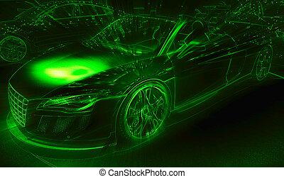 fény, neon, rajz