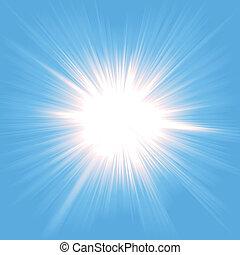 fény, starburst, ég