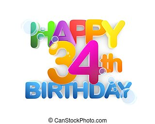 fény, születésnap, cím, 34, boldog