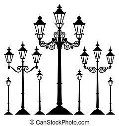 fény, vektor, utca, retro