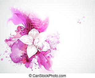 fény, zöld, pálma, háttér, virágzó, elvont, orhidea