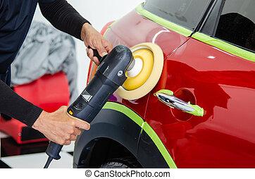 fényesítő, autó, rögtönzött, rendbehozás