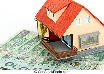 fényesít, pénz, képben látható, épület, -, kölcsönad,...