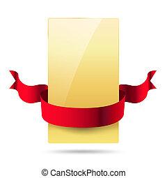 fényes, arany-, kártya, noha, piros szalag