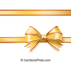 fényes, arany-, szalag, íj, képben látható, white., vektor
