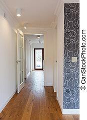 fényes, bejárat, noha, wooden padló