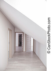 fényes, folyosó, noha, nyersgyapjúszínű bezs, ajtók