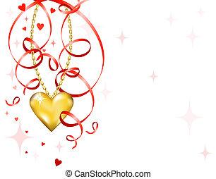 fényes, gold szív
