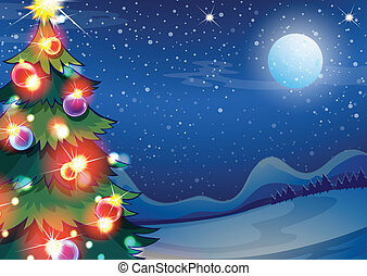 fényes, herék, fa, karácsony