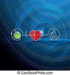 fényes, kardiológia, jelkép, egészséges élénk, fogalom