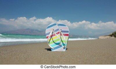 fényes, leesik, tengerpart, megfricskáz, homokos