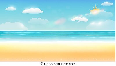 fényes, nyár, ég, tenger, homok tengerpart, háttér