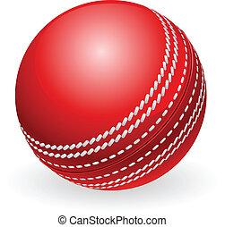 fényes, piros, hagyományos, krikett labda