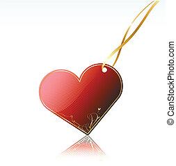 fényes, piros szív