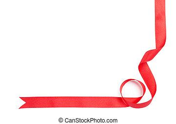 fényes, piros szalag, helyett, ajándék, göngyöleg