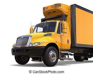 fényes, sárga, modern, teherárú teherkocsi, -, elvág, lövés