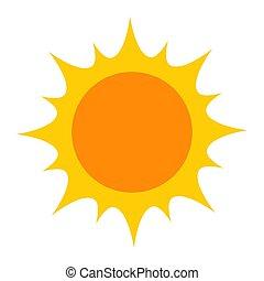 fényes, sárga nap, ikon