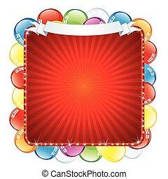 fényes, születésnap, cégtábla., vektor, ábra