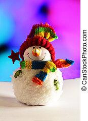 fényes, tél, hóember, gyönyörű, dekoráció