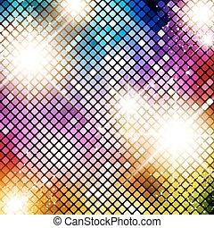 fényes, többszínű, háttér, disco