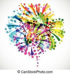 fényes, tűzijáték, háttér, színes, üdvözöl