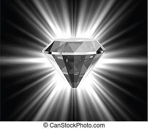 fényes, vektor, fényes, diamond.
