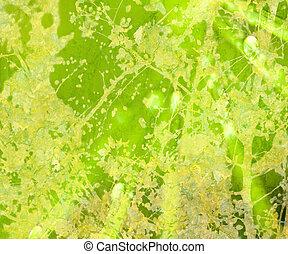 fényes, zöld, virágos, grunge, textured, elvont