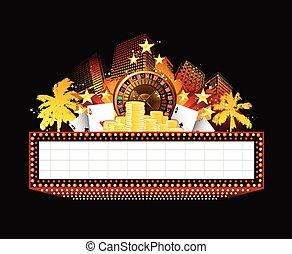 fényesen, színház, kaszinó, neonreklám, izzó, retro