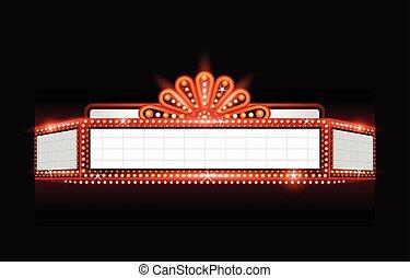 fényesen, színház, mozi, neonreklám, izzó, vektor, retro