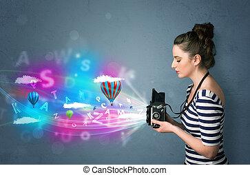 fényképész, elvont, fényképezőgép, imaginárius