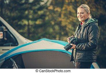 fényképész, munka, női