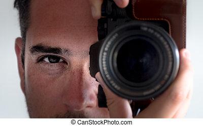 fényképész, szem kontaktlencse, fényképezőgép, viewfinder