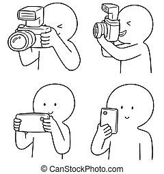 fényképész, vektor, állhatatos