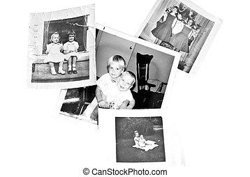 fénykép, öreg, család