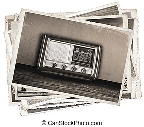 fénykép, öreg, rádió, mód, szüret