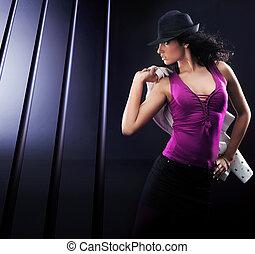 fénykép, barna nő, dinamikus, fiatal, szépség