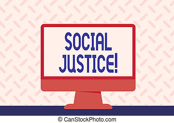 fénykép, belül, aláír, társadalom, számítógép, tiszta, vagyon, hely, előjogok, desktop, belépés, szöveg, fogalmi, ellenző, freestanding, kiállítás, színes, monitor, justice., egyenlő, társadalmi, asztal.