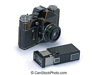 fénykép, cameras, öreg, két