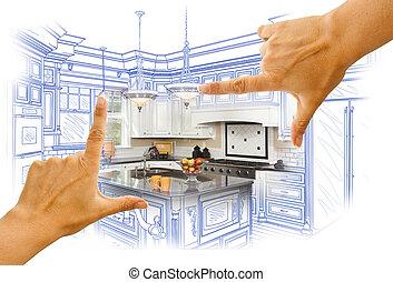fénykép, combinatio, szokás tervezés, koholás, kézbesít, rajz, konyha