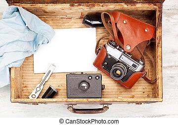 fénykép fényképezőgép, szüret, suitcase., nyílik, anitque
