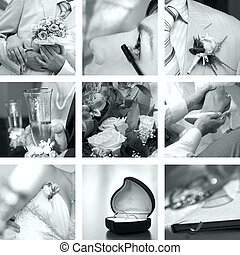fénykép, fehér, állhatatos, fekete, esküvő