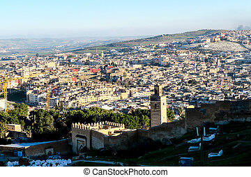 fénykép, fes, háttér, mecset, marokkó