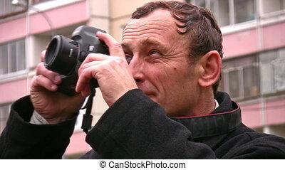 fénykép, idősebb ember, külső, fényképezőgép