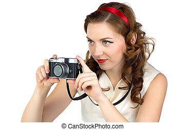 fénykép, közül, a, fénykép, nő, noha, retro, fényképezőgép