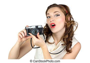 fénykép, közül, a, meglepődött, nő, noha, retro, fényképezőgép