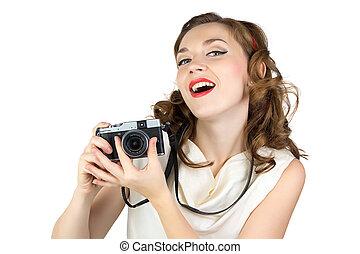 fénykép, közül, a, nő, noha, retro, fényképezőgép