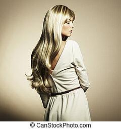 fénykép, közül, gyönyörű woman, noha, pazar, haj