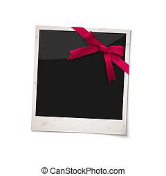 fénykép keret, polaroid, íj, szalag, piros